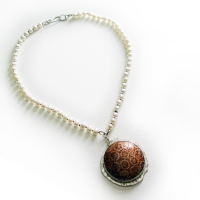 stone, pearl, silver necklet